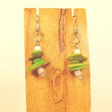 "1"" Lime Green Mother of Pearl Stacked Shell Chips Handmade Drop Dangle Earring"
