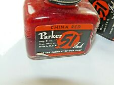 VINTAGE PARKER 51 CHINA RED INK BOTTLE WITH OUTER BOX