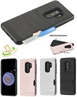 Samsung Galaxy S9 Plus S9 Hybrid Rubber TPU Hard Credit Card Wallet Case Cover