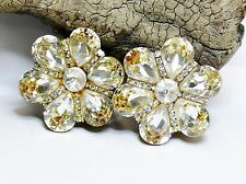 Vtg Flower Clip Earrings Design by SD made with White Clear Swarovski Crystal
