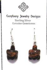 Eye Turtle Dangle Earrings.Handmade Usa Sterling Silver Wire-Wrap Red Tiger'S