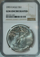 1993 American Silver Eagle Dollar $1 / .999 Pure / Certified NGC GEM BU 🇺🇸