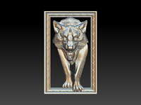 Wolf with frame STL file - Model for CNC Router Machine