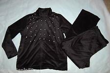Womens Track Suit BLACK VELOUR Rhinestone Stud JACKET & PANTS Size L 12-14