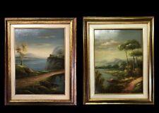 quadri dipinti a mano ad olio su tavola paesaggi con cornice legno stile antico