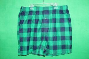 JOE BOXER - GREEN AND BLUE FLANNEL BOXER SHORTS - ADULT SIZE M (NEW)