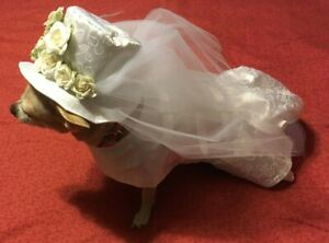 Wedding Dress/Costume with Hat for Small Dog