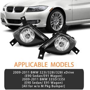 2Pcs Front Grills Bumper Driving Halogen Lamp Fog Lights For BMW 3 Series 09-11