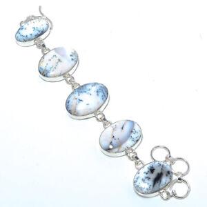 "Dendritic Opal - Brazil 925 Sterling Silver Ethnic Bracelet 7-7.99"" B1276-222"