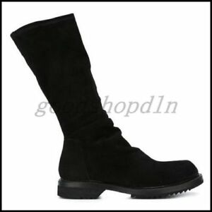 Euro Vogue Mens Winter Genuine Suede Leather Knee High Boots Black Shoes EU42