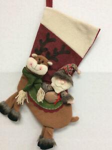 20 inch Woodland Rustic 3D Reindeer Santa Dangle Red Green Christmas Stocking