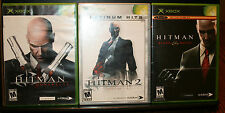 3 X BOX VIDEO GAME, HITMAN CONTRACTS, BLOOD MONEY, 2 SILENT ASSASSIN PLATINUM