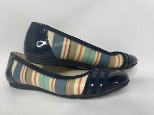 Anne Klein Women Shoe Size 8M AK Sport Navy Blue Patent Toe & Heel Ballet Flat