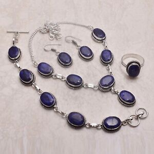 Blue Sapphire Gemstone Ethnic Handmade Christmas Gift Jewelry Sets L-1136