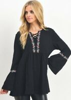 nwt JODIFL SHIRT blouse TUNIC top Vintage LACE EMBROIDERED MD LG XL  black BELL