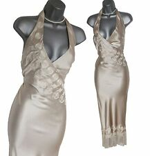 Karen Millen Beige 20's Gatsby Noir Downton Tassel Hollywood VTG Style Dress 12