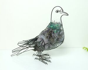 Cathy Miles contemporary wirework and found objects sculpture of a Pigeon