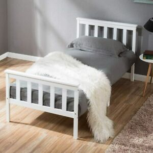 LIFE CARVER Single Bed Wooden Frame White Solid Pine for Adults, Kids, Teenagers