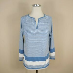 LISA TODD Women's Blue Stripe Pima Cotton Sweater Long Sleeves S Small
