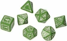 Q - Workshop - 7 Beautifully Detailed ELVISH - Green Dice with White Text - RPG