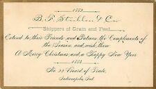 Xmas Greetings, Striblen & Co, Shippers of Grain & Feed, Indianapolis In 1883
