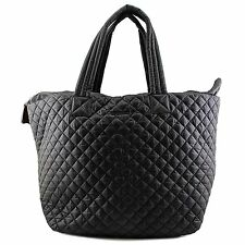MZ Wallace Large Metro Tote Black Large Lightweight Quilted Bag Pouch New