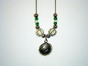 VOLLEYBALL GREEN & WHITE PENDANT / BEADED NECKLACE: HAND-MADE JEWELRY BY T.L.C.