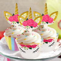 48Pcs Unicorn Cupcake Toppers + Cake Wrappers Rainbow Kids Birthday Party Favor
