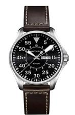 New Hamilton Khaki Aviation Pilot Black Dial Leather Band Men's Watch H64611535