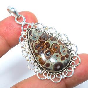 "Ocean Jasper - Madagascar Gemstone 925 Sterling Silver Pendant 2.03"" F2518"