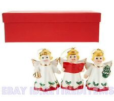3 MR. CHRISTMAS Angel Choir Porcelain Ornaments Figures - Vintage Look By Design
