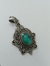 "Tibetan Silver Flower Ovale Bleu Turquoise Gemstone Pendant Bead 2x1.7/"" Hot B1D5"