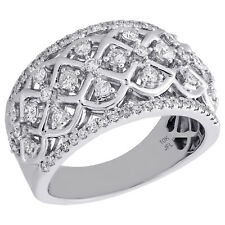 Right Hand Cocktail Ring 3/4 Ct 10K White Gold Ladies Diamond Designer Checkered