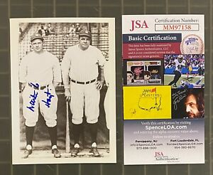 Waite Hoyt Signed 4x5 Photo Autographed w/ Babe Ruth JSA COA NY Yankees HOF