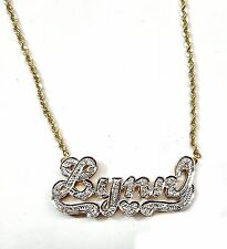 LYNN Diamond 3D Nameplate in 14kt 2tone Gold. Pave Set Diamonds, With Chain