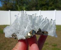 Sparkling Sharp Clear Quartz HUARON Mine Crystal Points Pyrite CLUSTER For Sale