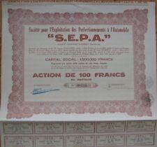 1935 Automobile / Car Stock / Bond Certificate - 'SEPA'