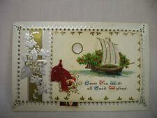 VINTAGE CHRISTMAS POSTCARD FOLD-OUT WITH SAILING SHIP 1924