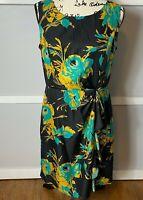 Banana Republic Women's Black Floral Sleeveless Cocktail Holiday Dress, Size 12
