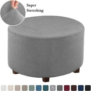 Stretch Ottoman Slipcovers Round Ottoman Footstool Covers Removable Protect 1PCS
