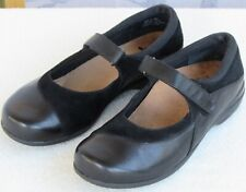6 | Abeo Amie Women Black Leather Suede Mary Jane Casual Flat Shoe