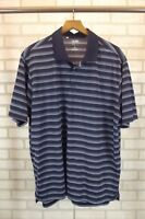 Mens Adidas Polo Shirt Size XL X-Large Blue Striped Short Sleeve Clima Lite Golf