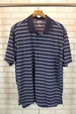 Mens Adidas Polo Shirt Size XL X-Large Blue Striped Short Sleeve Clima Lite Golf