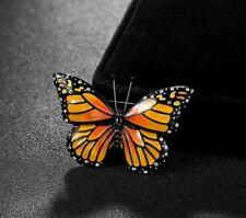 Realistic Monarch Butterfly Pin Beautiful Gift Nature Metal Simulated Diamonds