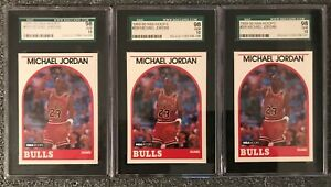 (3) 1989-90 HOOPS MICHAEL JORDAN BULLS #200 SGC 98=10=ALL GEM MINT & CENTERED!!!