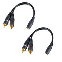 1x Cinch RCA Stecker auf 2X Cinch RCA Buchse Stereo Farbe schwarz HiFi PremiumCord Cinch Kabel 0 f/ür TV Handys Audio Video Adapterkabel 2m MP3