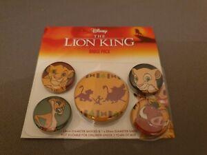 Official Disney The Lion King 5 x Pin Badges Simba Timone Pumba