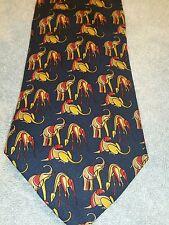 Salvatore Ferragamo Tie African Theme 100% Silk Necktie Giraffes Elephants Lions