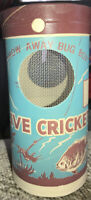 """VINTAGE NOS LIVE CRICKETS BAIT BOX CANISTER """"THROW AWAY BUG BOX"""" LIVE CRICKETS"""