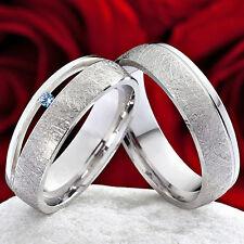 Eheringe Verlobungsringe 925 Silber Ringe mit echtem Topas Ringgravur SPT43